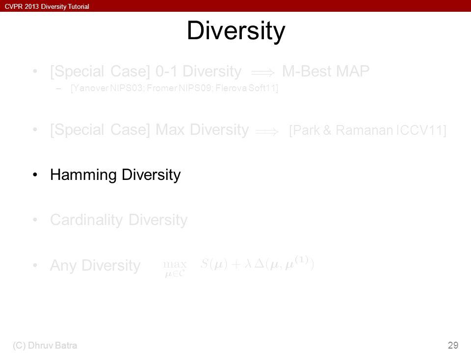 Diversity [Special Case] 0-1 Diversity M-Best MAP